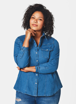 Denim overhemdblouse